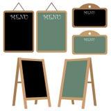 Menu chalkboard set. Set of six menu chalkboard, black and green, isolated on white background. EPS file available stock illustration