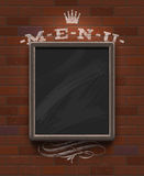 Menu chalkboard in wooden frame Royalty Free Stock Image
