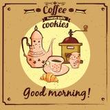 Menu che daking, croissant, biscotto, macinacaffè, teiera, tazza, vettore, illustrazione, isolata illustrazione di stock