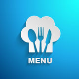 Menu chef paper effect. In blue background Royalty Free Stock Images