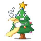 With menu Christmas tree character cartoon. Vector illustration Royalty Free Stock Image
