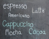Menu coffee on blackboard Stock Photos