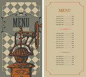 Menu for a coffee house Stock Images