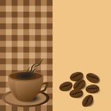 Menu coffee mug with coffee beans Stock Photos