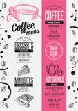 Menu coffee restaurant, beverage template placemat. Stock Photos