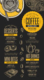 Menu coffee restaurant, beverage template placemat. Coffee menu placemat food restaurant brochure; cafe template design. Vintage creative beverage flyer with vector illustration