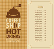 Menu for a coffee shop Royalty Free Stock Image
