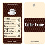 Menu for coffee shop Royalty Free Stock Photos