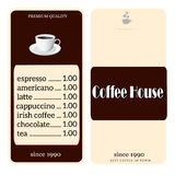 Menu for coffee shop Royalty Free Stock Image