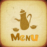 Menu - coffee tea cups and coffee tea pot Stock Photography