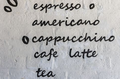 Menu coffee on white brick wall Royalty Free Stock Photography