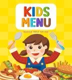 Menu colorido bonito da refeição das crianças ilustração stock