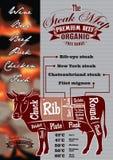 Menu com um cartão da vaca e do bife para o menu do restaurante ilustração do vetor