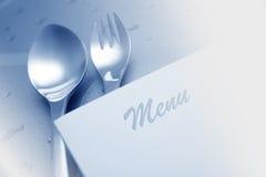 Menu con il cucchiaio e la forchetta Fotografia Stock Libera da Diritti