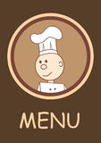 Menu con il cuoco unico sorridente felice Fotografie Stock
