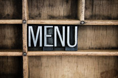 Menu Concept Metal Letterpress Word in Drawer Royalty Free Stock Photos
