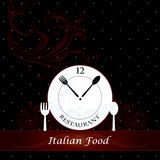 Menu cover with Cutlery and clock Royalty Free Stock Image