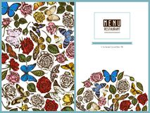 Menu cover floral design with colored menelaus blue morpho, lemon butterfly, red lacewing, african giant swallowtail