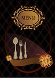 Menu cover. Vintage menu cover with fork, spoon and knife Royalty Free Stock Image