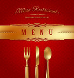 Menu Cover With Golden Cutlery Royalty Free Stock Photo