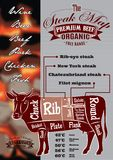 Menu with a cow and steak card for restaurant menu Royalty Free Stock Photo
