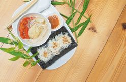 Menu create of Vegetarian food is rice noodle with soup and sauce stock image