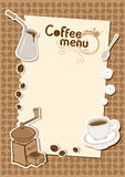 Menu with a cup of coffee grinder. A cup of coffee grinder, coffee beans and sugar Stock Images