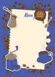 Menu with a cup, sugar, cezve and coffee grinder Royalty Free Stock Image