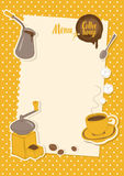 Menu with a cup, sugar, cezve and coffee grinder Royalty Free Stock Photography
