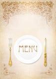 Menu, cutlery on grunge background. Stock Photography