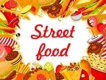 Menu d'affiche de casse-croûte de prêt-à-manger de nourriture de rue de vecteur Illustration Libre de Droits