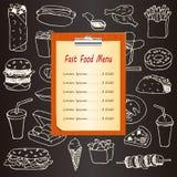 Menu d'aliments de préparation rapide avec les éléments tirés par la main de griffonnage Image stock