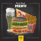 Menu d'aliments de préparation rapide de dessin de craie de vintage Images libres de droits