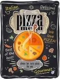 Menu d'annata della pizza del gesso. Fotografie Stock
