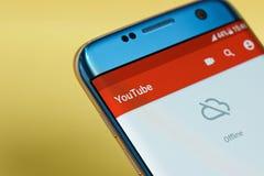 Menu d'application de Youtube off-line images stock