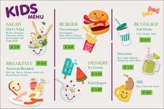 Menu d'enfants pour le restaurant Menu pour des enfants dans la conception mignonne Photo stock