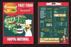 Menu d'hamburger d'aliments de préparation rapide de restaurant de brochure ou d'affiche avec des personnes Images stock