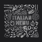 Menu d'Italien de café de restaurant photo stock