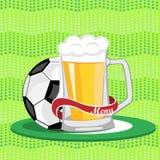 Menu da barra de esportes, cartaz, bandeira Caneca de cerveja e uma bola de futebol na Foto de Stock Royalty Free