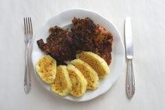 Menu da carne de porco e dos bolinhos de massa Fotografia de Stock