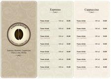 Menu da casa de café Imagens de Stock Royalty Free