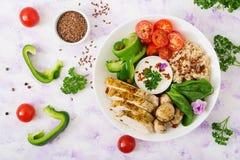 Menu da dieta Estilo de vida saudável Papa de aveia da farinha de aveia, faixa da galinha e legumes frescos Imagens de Stock