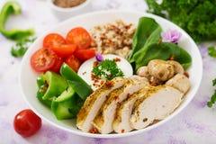 Menu da dieta Estilo de vida saudável Papa de aveia da farinha de aveia, faixa da galinha e legumes frescos Foto de Stock Royalty Free