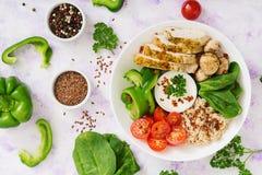 Menu da dieta Estilo de vida saudável Papa de aveia da farinha de aveia, faixa da galinha e legumes frescos Fotografia de Stock Royalty Free