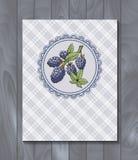 Menu da etiqueta da amora-preta com ramo e folhas ilustração stock