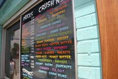 Menu da loja de gelado Fotografia de Stock Royalty Free