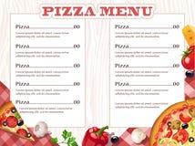 Menu da pizza Fotos de Stock Royalty Free