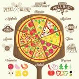 Menu da pizza, etiquetas e elementos do projeto Fotos de Stock Royalty Free