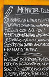 Menu of the day. An outdoor tapas menu in Barcelona Spain Stock Image