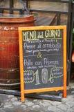 Menu of the day near restaurant in Rome, Lazio, Italy Royalty Free Stock Photos